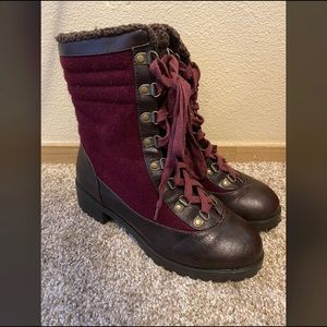 Red/brown combat boots